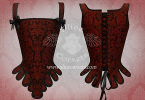 Rococo Gothic Overbust Corset Heraldic by Alice-Corsets