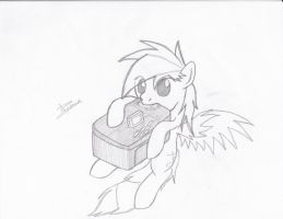 My OC Eating My Scanner by Xeirla