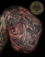 Biomech Skull Horror TaT by 2Face-Tattoo