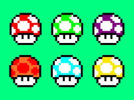 Super Mario Mushrooms by Toadykare