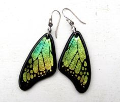 Butterfly Wing Earrings Fused Glass Yellow Green by FusedElegance