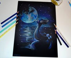 Dragonair and the Moon by Lighane