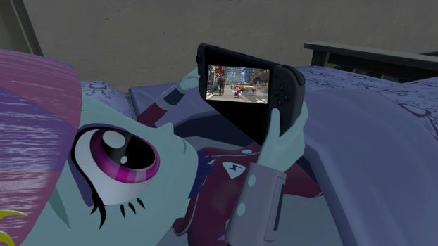 SFM Sunny Flare Playing Nintendo Switch In Bed A1 by Humberto2000