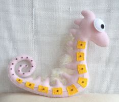 Pink Embellished Seahorse Plushie by vannesdesigns