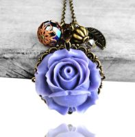 GARDEN OF EDEN - Purple Resin Rose Bronze Necklace by crystaland