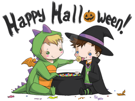 Lucifer + Castiel Halloween by DeanGrayson