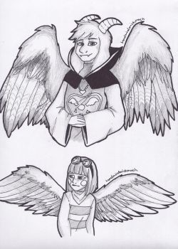 UT: Scribbles - Birdtale Asriel and Chara by handmindmishmash