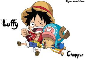 Chibi Luffy And Chopper by Kughus