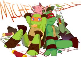 MICHELANGELO and RAPHAEL by YunachanFairy
