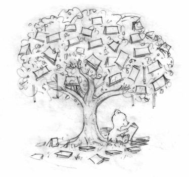 Reading Under the Book Tree by qrowdad