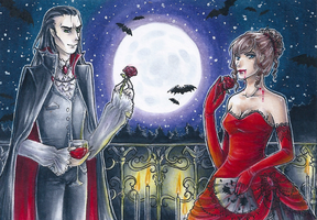 ACEO No. 12 and 13 ~ Vampires by StrawberryJule