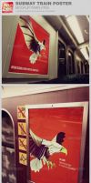Subway Train Poster Mockup Templates by loswl