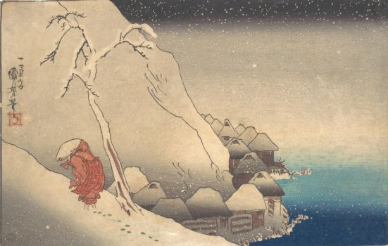 Utagawa Kuniyoshi  - Travelling in a Snowstorm by ArtLovers68