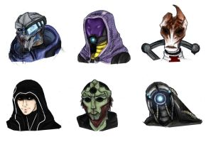 Mass Effect headshots by Lily-pily