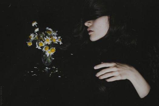 Self-portrait with wilted camomiles by NataliaDrepina