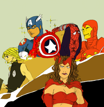Desu pling-Avengers art trade with LizzyThing by ProsperPI