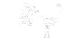 Tablet Sonic and Shadow sketch by X-ShiningStar-X