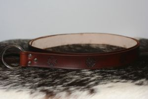 1.5'' Brown Celtic Leather Ring Belt by Versalla