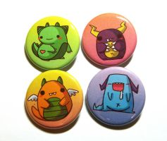 cute little monsters button pack by michellescribbles