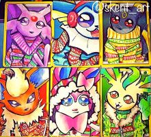 Holiday Eeveelution Cards XD by SkentArt