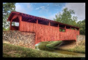 Red Covered Bridge III HDR by joelht74