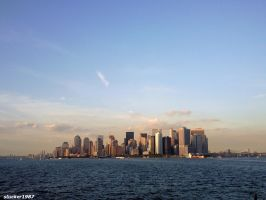new york skyline off the river by stucker1987