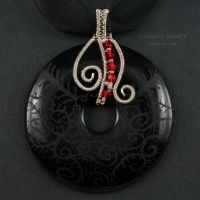Sterling, Onyx and Red Glass Donut Pendant by Gailavira