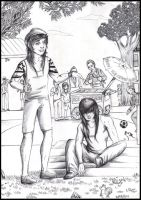 Josh and Dae - A summer day (black and white) by FuriarossaAndMimma