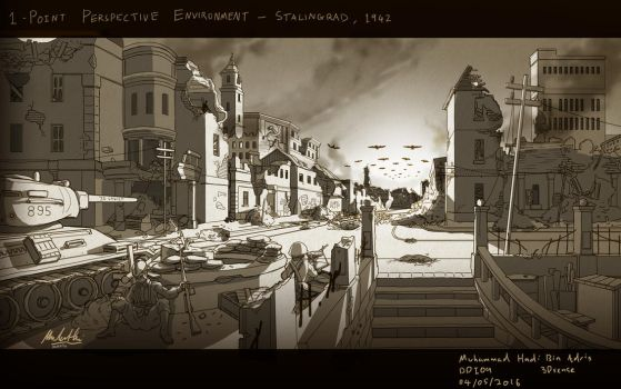 1-Point Perspective Exercise: Stalingrad, 1942 by SSgt-LuLZ