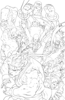 Street Fighter 25th Anniversary Lineart by HeavyMetalHanzo