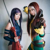 X-Men - Psylocke and Rogue by missdang