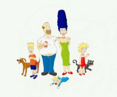 The Simpsons in my style by EarthVStheDerek