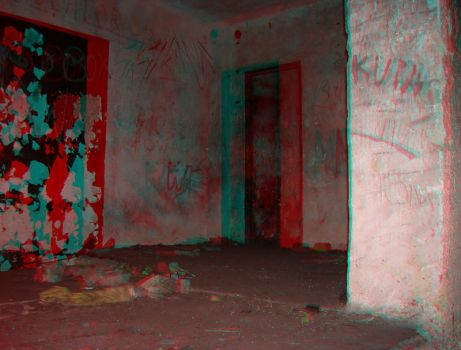 Abandoned Quarters 3D anaglyph by yellowishhaze