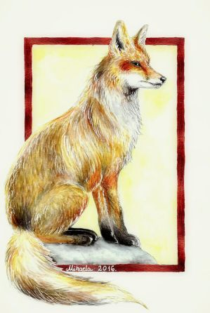 Fox, watercolor by red-fox-child