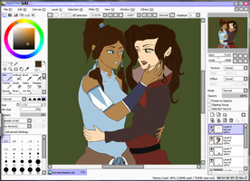 Korra and Asami WIP by DoctorPiper