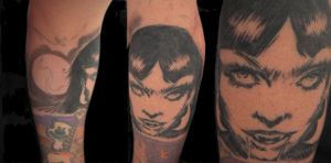 Vampirella tattoo in progress by guillotinemaster75