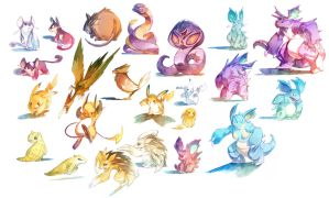 Watercolor Pokemon! 019-034 by nicholaskole