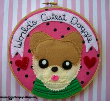 Boo the World's Cutest Doggie Embroidery Hoop by iggystarpup