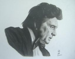 johnny cash drawing by JeffEvans