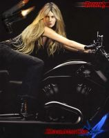 Trish on a motorbike by Taitiii