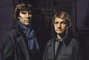 Sherlock and John (platonic, I'm sure) by EmmilyTM