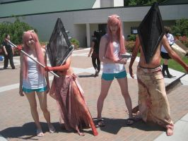 A Pyramid Head couple with Lucy and Nyuu by MissPyramidHead4