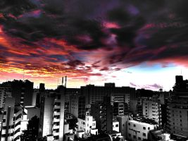 Surreal Tokyo Sunrise HDR by L-Spiro