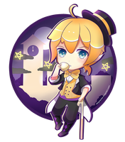 Chibi Series 3 - Monochrome Dream Eater Len by Pokkiu