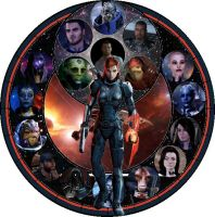 Mass Effect Female Stained Glass Art by angelbrat3005