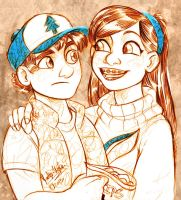 Dipper and Mabel by MistyTang