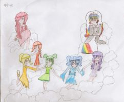 The rainbow godess and children by GingersaurusRexx