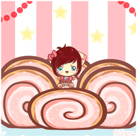 Bouncy strawberry roll cakes! by Mirera