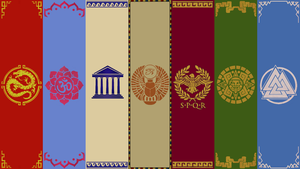 Smite Pantheon Banners ~Wallpaper~ by Silverfoxxe