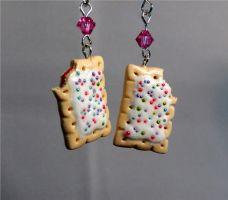 Strawberry Poptart Miniature Earrings by StarfallAtDusk